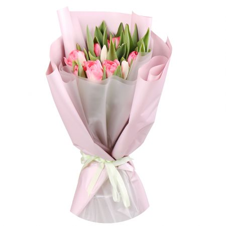 Bouquet 15 pink and white tulips