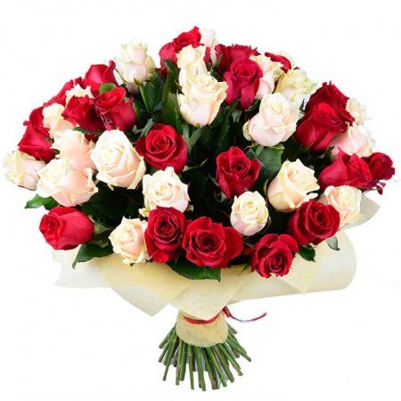 Bouquet Red and cream roses (51 pcs.)