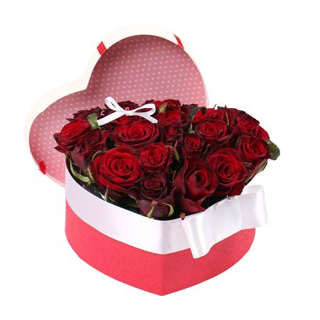 Bouquet Heart of roses in a box