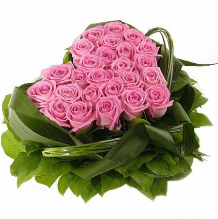 Bouquet Pink roses heart