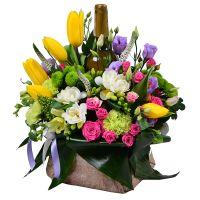 Bouquet Flower arrangement with wine