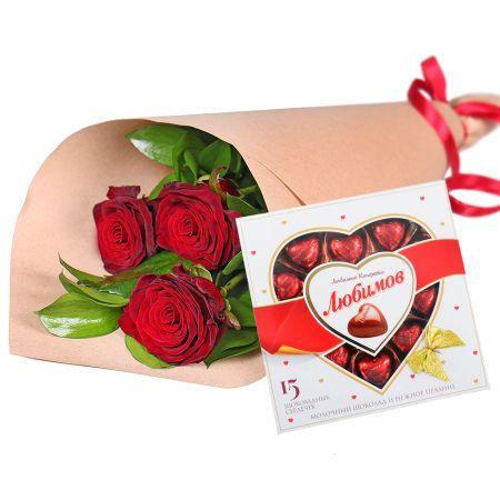 Bouquet 3 roses + chocolates
