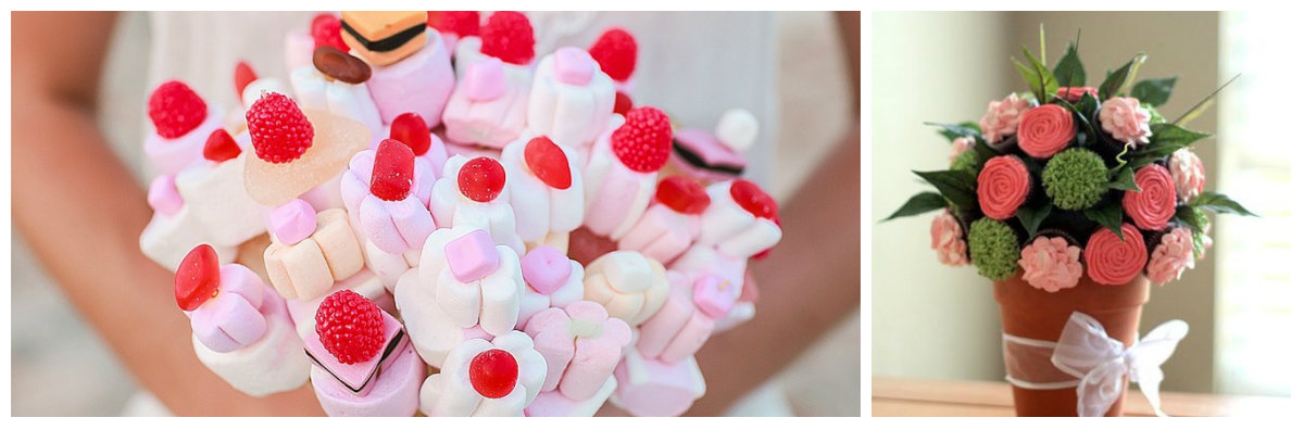 Bouquets of sweets and cakes