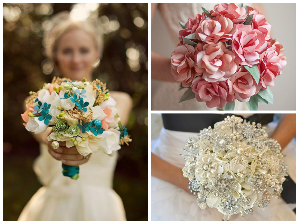 Bouquets of paper and jewelry